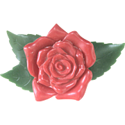 Vintage Early Signed Plastic Red Rose Pin