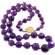 Vintage Faceted Graduated Amethyst Necklace