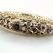 Vintage Custom Made Pierced Sapphire and Seed Pearl Bangle