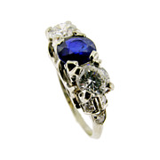 Vintage Diamond and Sapphire 3-Stone Ring