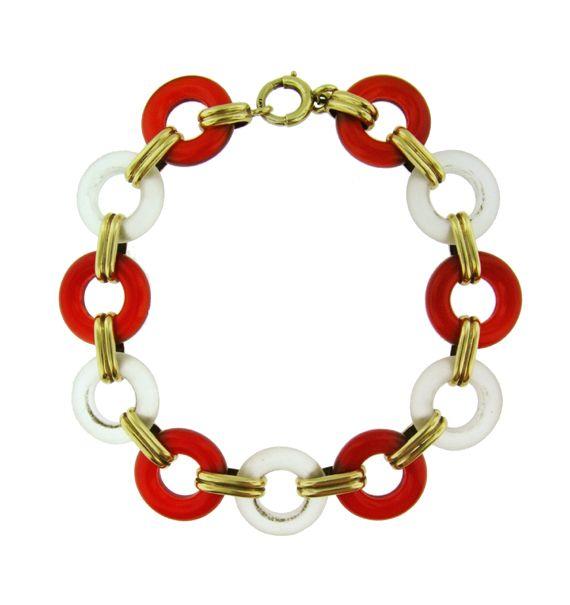 Art Deco Rock Crystal and Carnelian Bracelet