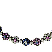 Vintage 18KT Oxidized Gold Sapphire and Diamond Necklace