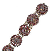 Bohemian Garnet 800 Grade Silver Circular Link Bracelet