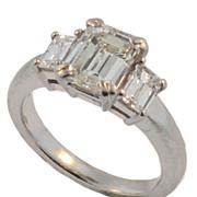 Vintage Estate Emerald Cut 2.90 cts. Diamond Ring.
