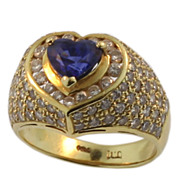Vintage Yellow Gold Sapphire and Diamond Heart Ring