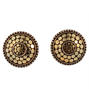 John Hardy Sterling Silver  and 18KT Yellow Gold Dot Earrings