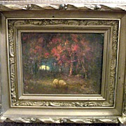 "Henry Hammond Ahl 1869-1953 ""Lingering Light"" oil painting"