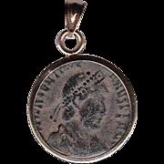14 Karat Gold Ancient Coin Jewelry Pendant Roman Emperor Constantine I Authentic
