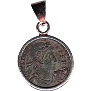 Sterling Silver Ancient Coin Jewelry Pendant Roman Emperor Constans 337-350 AD Authentic