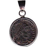 Sterling Silver Ancient Coin Jewelry Pendant Roman Emperor Valentinian I Authentic