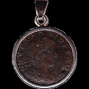 Sterling Silver Ancient Coin Jewelry Pendant Roman Emperor Vetranio Authentic