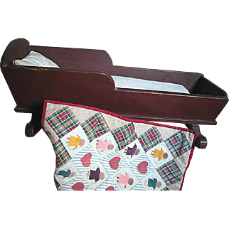 Small Antique Wood Doll Bed with Mattress Pillow and a Quilt