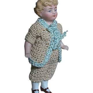 German All Bisque Dollhouse doll   Molded Hair  Fine Features  Original Knit Outfit