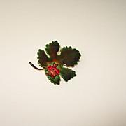 Original by Robert Enamel Leaf Pin with Ladybug