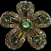 Givenchy Designer Vintage Brooch Pin with Green & Aurora Borealis Rhinestone