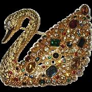 Swarovski Swan Vintage Designer Pin Brooch