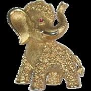 Trifari Elephant Pin with Pink Jeweled Eye