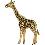 Ciner Giraffe Designer Gold Tone Pin with Rhinestone Eyes
