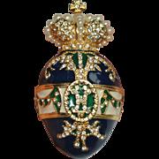 Enamel Rhinestone Crown Maltese Cross Egg Pin Pendant