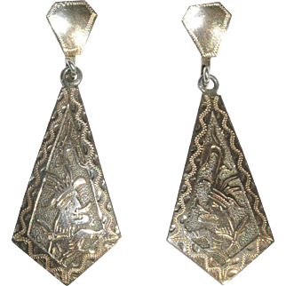 Guatemala Silver Earrings with Mayan, Aztec or Inca Signed Alpaca