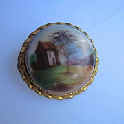 Old Hand-Painted Porcelain Pin with Country Scene & Chateau