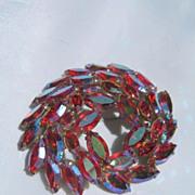 Regency Designer Pin with Marquise Pink Aurora Borealis Rhinestones