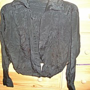 Antique Black Victorian clothing Silk & embroidery w/ carnival glass cut beaded Blouse