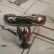 Vintage Navajo sterling Silver turquoise & coral Ring & bracelet BEGAY Bee-GAY