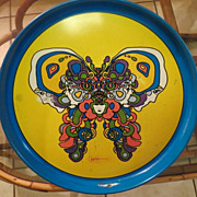 Vintage Peter Max 1960s enameled Tray Cosmic Butterfly
