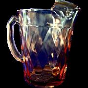 Hazel Atlas Diamond Optic Pink Depression Glass Iced Tea Pitcher
