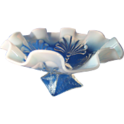 Jefferson Glass Company Opalescent Beaded Fans Footed Bowl