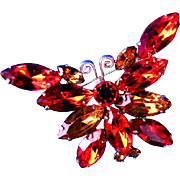 Lovely Fall Colored Accented Butterfly Brooch or Broach