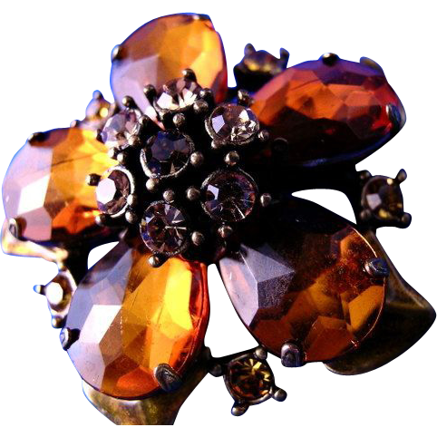 Pretty Amber Colored Flower Brooch or Broach