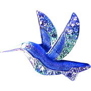 Blue and Silver Humming Bird Pin or Brooch