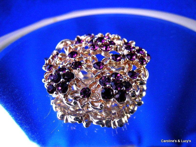Pretty Deep Purple Rhinestone Brooch