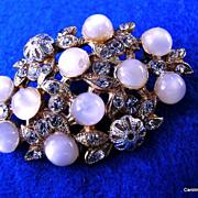 Elegant Vintage Opalescent Cabochon & Rhinestone Brooch