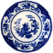 Exceptional 1845 Flow Blue Peking Pattern Dinner Plate
