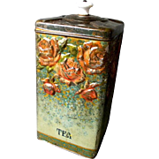 Vintage Hinged Tea Tin With Ceramic Knob