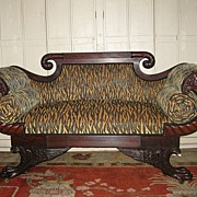 19th C. Mahogany Empire Settee in Animal Print Fabric