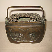 Antique Japanese Bronze Rectangular Koro