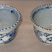 Pair of Chinese Porcelain Blue and White Cups