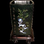 Exquisite Spinach Jade Inlaid Rectangular Cup