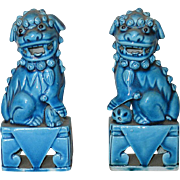 Pair of Chinese 19th C. Export Porcelain Turquoise Fu Lions