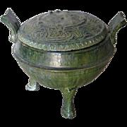 Chinese Han Dynasty Green Glazed Pottery Tripod Censor