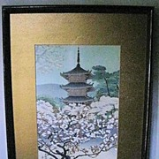 "Woodblock Print of ""Pagoda with Flowering Tree"""
