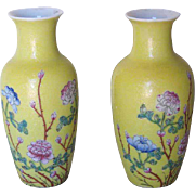 Pair of Small Chinese Famille Juan Porcelain Vases