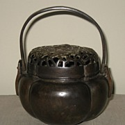 Antique Chinese Bronze Small Incense Burner with Swing Handle