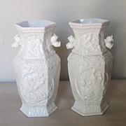 Pair of Chinese Fujian White-ware Hexagonal Vases
