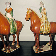 Chinese San-Cai Glazed Pottery Female Equestrians