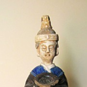 Chinese Ming Dynasty Blue-Glazed Pottery Official